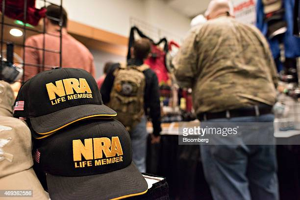 National Rifle Association merchandise sits on display during the 144th NRA Annual Meetings and Exhibits at the Music City Center in Nashville...