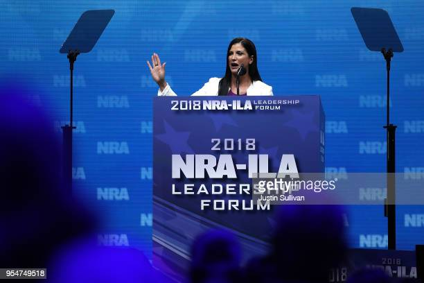 National Rifle Association spokesperson Dana Loesch speaks at the NRAILA Leadership Forum during the NRA Annual Meeting Exhibits at the Kay Bailey...