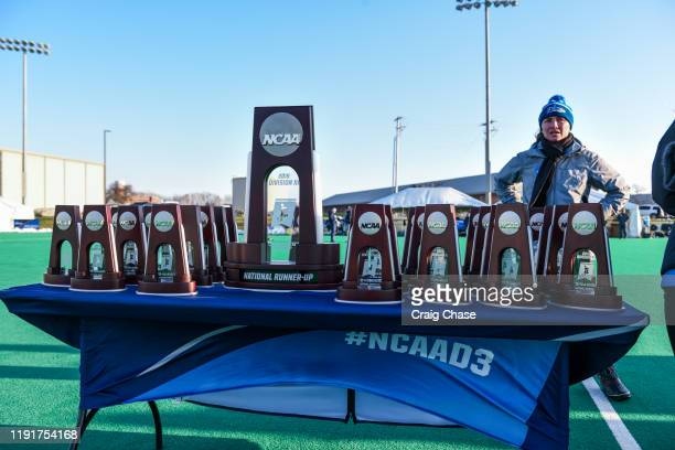 National runnerup trophies are seen following the Division III Women's Field Hockey Championship held at Spooky Nook Sports on November 24 2019 in...