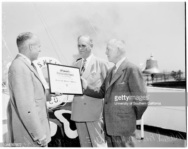 National Safety Council Award 15 June 1952 Frank D Higbee rear Admiral United States Coast Guard port wardenAE Pegg AE Kihn Captain TW Peters...