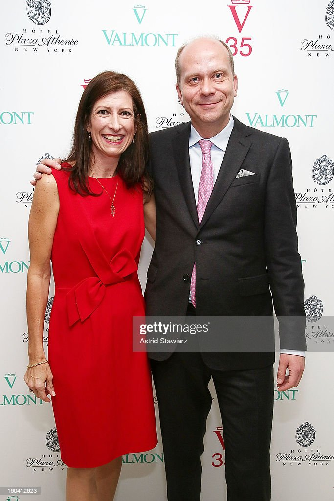 National Sales Manager at CVL Cosmetics NA Valmont, Donna Praczukowski and Sebastian Wurst, Manager of the Hotel Plaza Athenee attend the V35 Valmont SPA Launch Event at Plaza Athenee on January 30, 2013 in New York City.