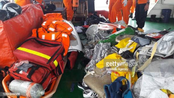National Search and Rescue Agency team collect debris of Lion Air JT 610 aircraft which crashed into Karawang waters West Java Indonesia on October...