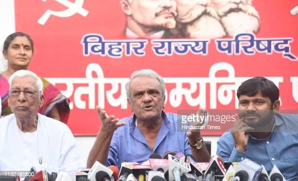 National Secretary of Communist Party of India K Narayana with Expresident of JNU Students Union Kanhaiya Kumar addressing a press conference ahead...
