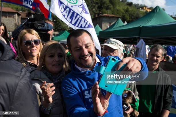 National Secretary of the North League Matteo Salvini meets his supporters during the annual convention of the party on September 17 2017 in Pontida...