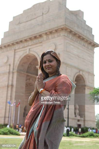 BJP national secretary Vani Tripathi posing for the special profile shoot at India Gate of on August 19 2014 in New Delhi India