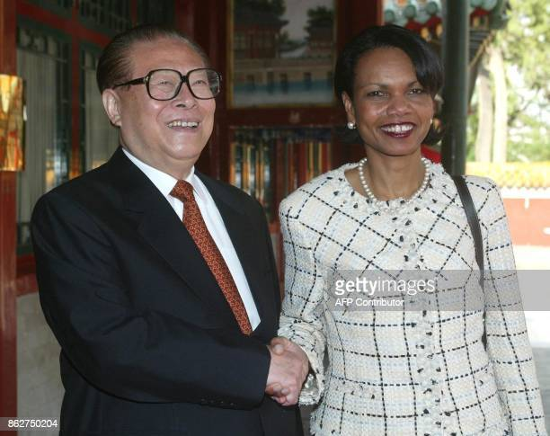 US National Security Adviser Condoleezza Rice meets with former Chinese president Jiang Zemin at the Zhongnanhai leadership compound in Beijing 08...