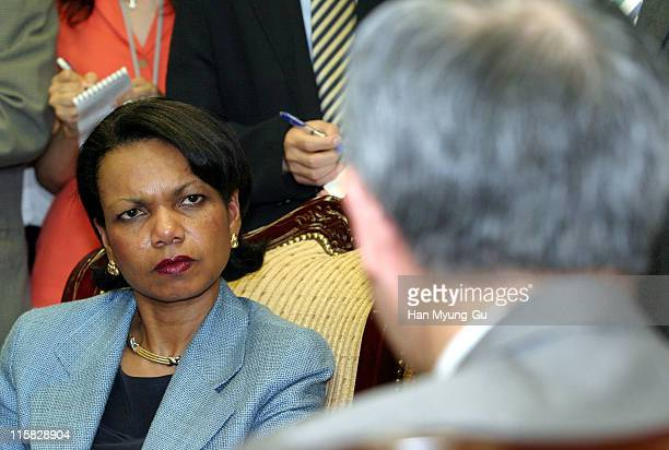 National Security Adviser Condoleezza Rice talks with South Korean Foreign Minister Ban Ki-Moon during a meeting at Ministry of Foreign Affairs and...