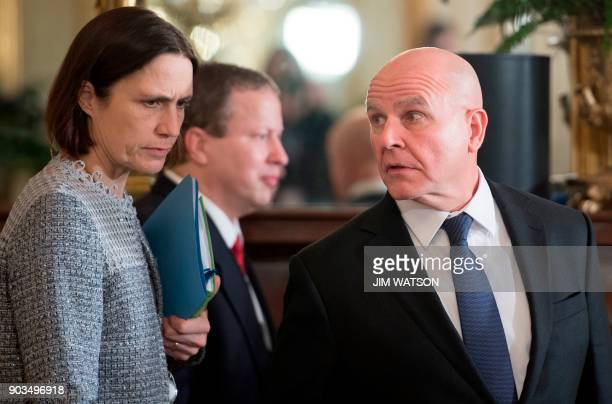 National security adviser HR McMaster arrives for a joint press conference with US President Donald Trump and Prime Minister Erna Solberg of Norway...
