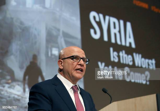 S National Security Adviser HR McMaster speaks about the situation in Syria during a discussion at the US Holocaust Memorial Museum on March 15 2018...