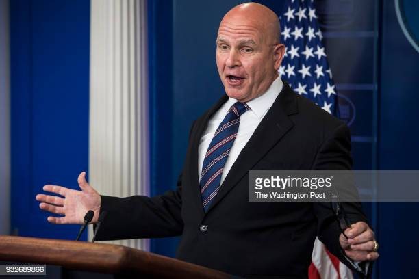 National Security Adviser HR McMaster speaks during a briefing in the James S Brady of the White House in Washington DC on Tuesday May 16 2017...