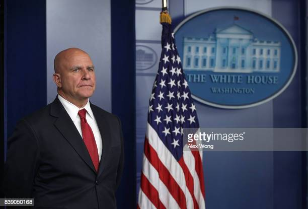National Security Adviser HR McMaster speaks to members of the White House press corps during a daily briefing at the James Brady Press Briefing Room...