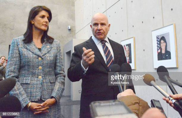 US National Security Adviser HR McMaster speaks to reporters after meeting with ambassadors to the United Nations from countries which are Security...