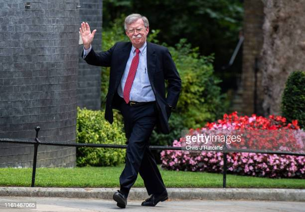National Security Adviser, John Bolton, arrives to meet the Chancellor of the United Kingdom, Sajid Javid, at 11 Downing Street on August 13, 2019 in...