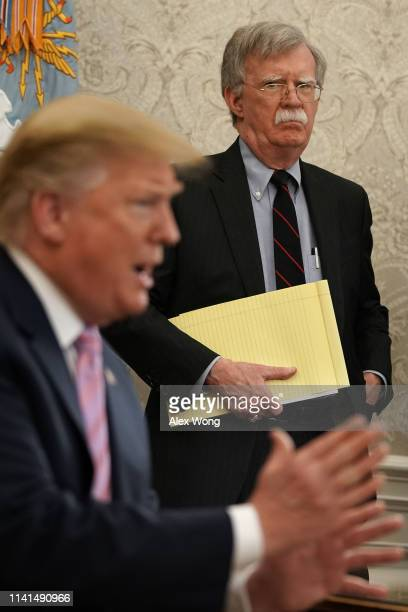 National Security Adviser John Bolton listens to U.S. President Donald Trump speak during a meeting with Egyptian President Abdel-Fattah el-Sisi in...