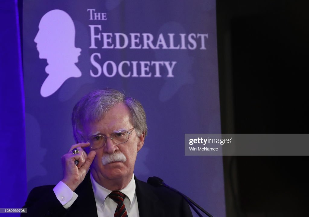 White House National Security Adviser John Bolton Speaks At A Forum Hosted By The Federalist Society : News Photo