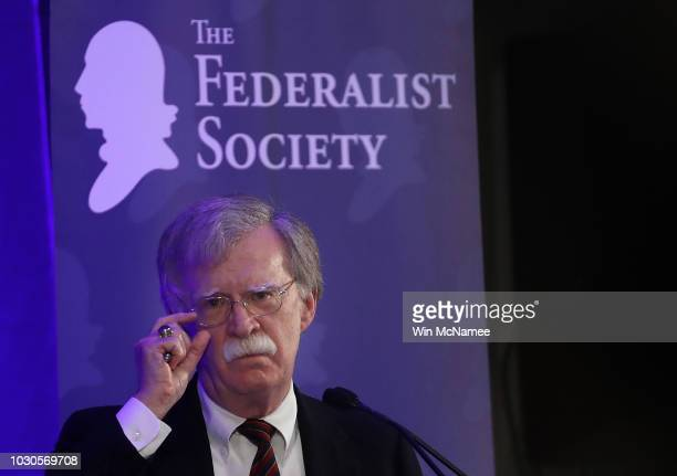 S National Security Adviser John Bolton speaks at a Federalist Society luncheon September 10 2018 in Washington DC During his remarks Bolton...