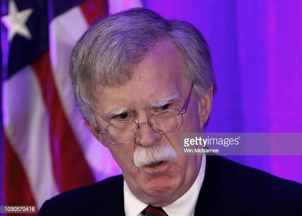 S National Security Adviser John Bolton speaks at a Federalist Society luncheon at the Mayflower Hotel September 10 2018 in Washington DC During his...