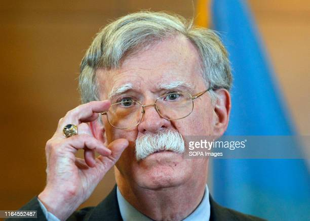 National Security Adviser John Bolton speaks during a media conference in Kiev. John Bolton arrived to Kiev to meet with the top Ukrainian officials.