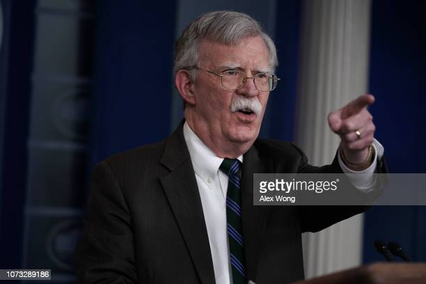 National Security Adviser John Bolton speaks during a news briefing at the James Brady Press Briefing Room of the White House November 27 2018 in...