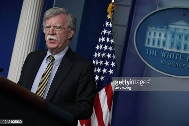 National Security Adviser John Bolton speaks during a White House news briefing at the James Brady Press Briefing Room of the White House October 3,...