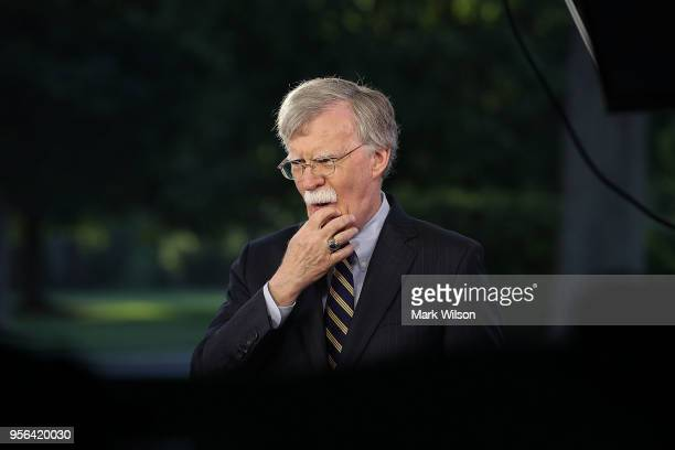 National Security Adviser John Bolton speaks on a morning television show from the grounds of the White House, on May 9, 2018 in Washington, DC....