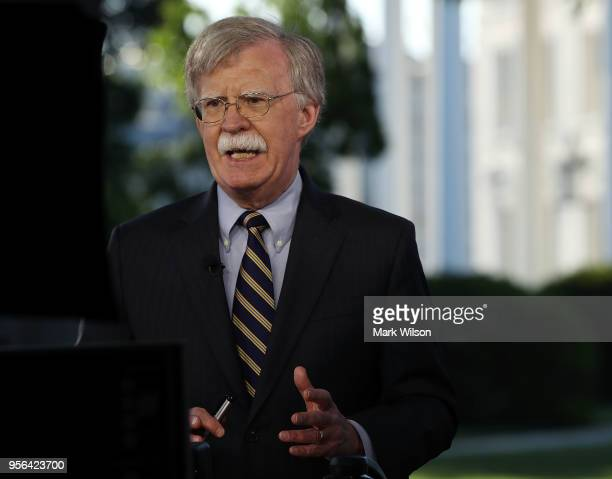National Security Adviser John Bolton speaks on a morning television show from the grounds of the White House on May 9 2018 in Washington DC...