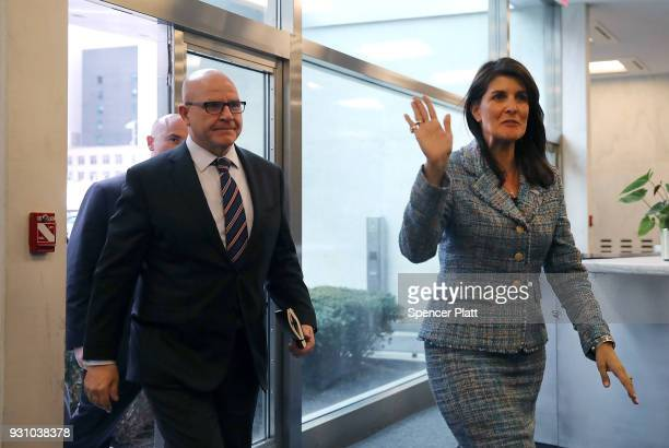 National security adviser Lt Gen HR McMaster arrives with United States Ambassador to the United Nations Nikki Haley at the UN for a meeting with UN...