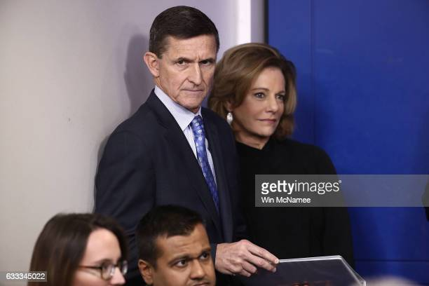 National Security Adviser Michael Flynn waits to answer questions in the briefing room of the White House February 1 2017 in Washington DC Flynn said...