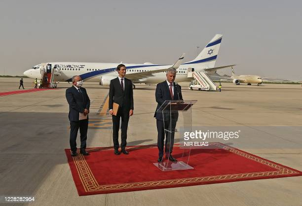 National Security Adviser Robert OBrien delivers a speech his arrival, as part of an Israeli-American delegation, at the Abu Dhabi airport, in the...