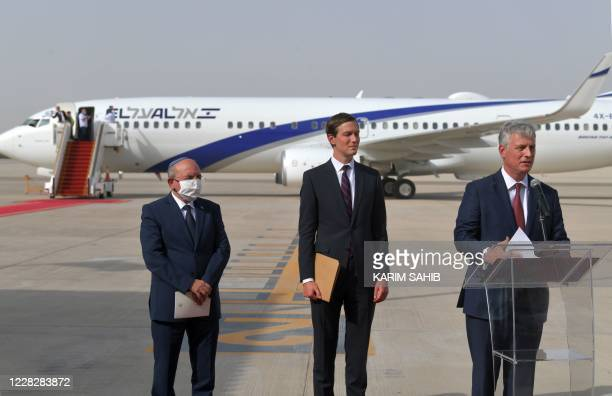 National Security Adviser Robert OBrien speaks next to US Presidential Adviser Jared Kushner and Head of Israel's National Security Council Meir...