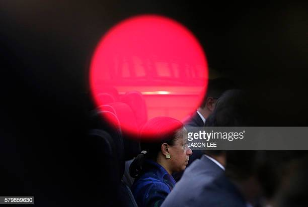 US National Security Adviser Susan Rice looks on in a meeting with China's Central Military Commission Vice Chairman Fan Changlong at the Bayi...