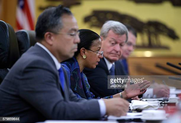 US National Security Adviser Susan Rice meets China's Central Military Commission Vice Chairman Fan Changlong at the Bayi Building in Beijing on July...