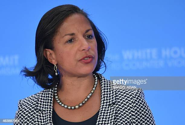 US National Security Adviser Susan Rice speaks during the closing session of the White House Summit to Counter Violent Extremism at the State...