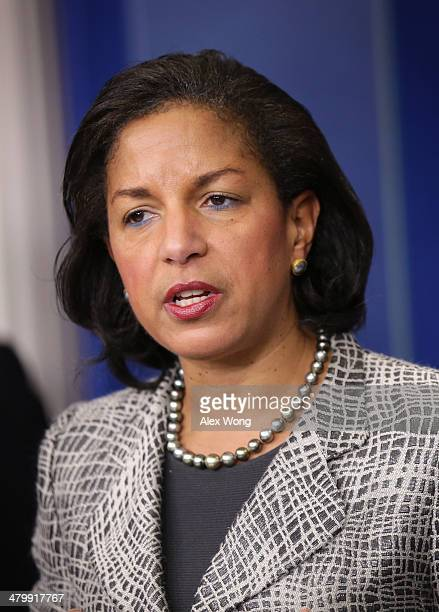 S National Security Adviser Susan Rice speaks during the White House Daily Briefing at the James Brady Press Briefing Room of the White House March...