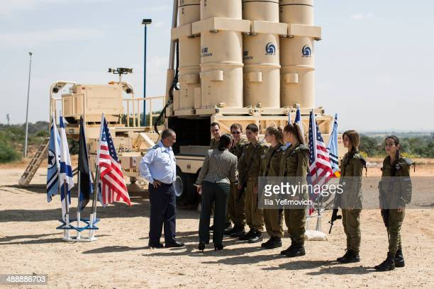 "National Security Adviser, Susan Rice speaks with Israeli soldiers next to the Israeli missile system ""Arrow II"" before her speech at the Palmachim..."