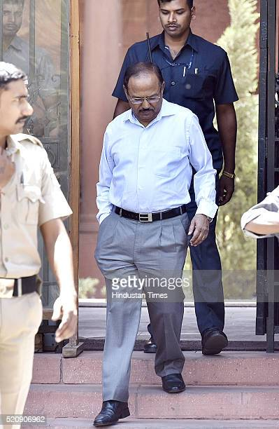 National Security Advisor Ajit Doval coming out after attending the Cabinet Meeting at PM Office South Block on April 13 2016 in New Delhi India The...