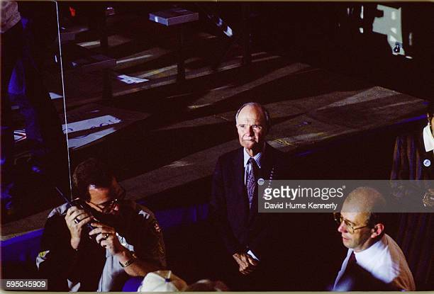 National Security Advisor Brent Scowcroft looks on at a Bush/Quayle campaign rally on November 2 1992 in Louisville Kentucky President George HW Bush...