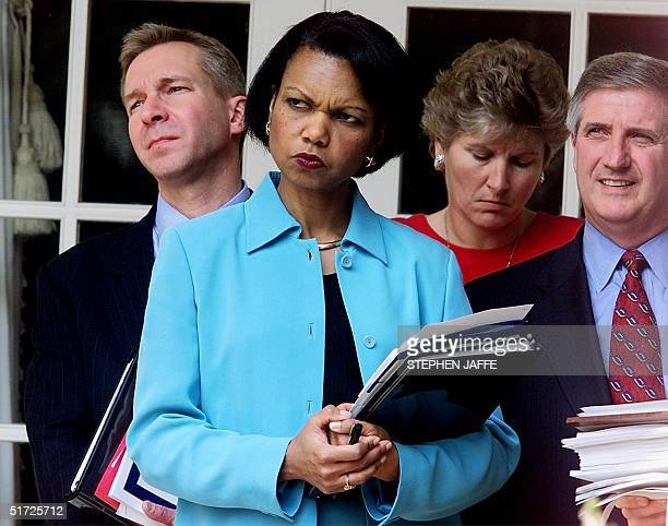 National Security Advisor Condoleezza Rice along with Chief of Staff Andrew Card Communications Director Karen Hughes and Deputy Chief of Staff for...