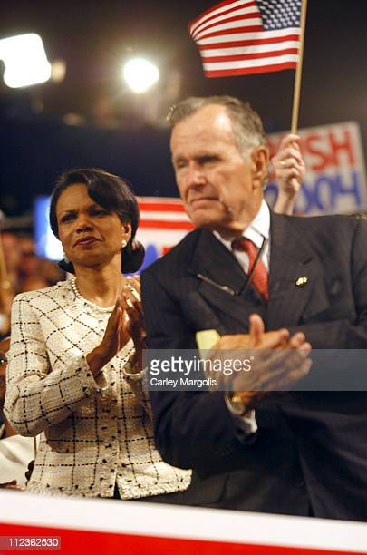 National Security Advisor Condoleezza Rice and George H. W. Bush