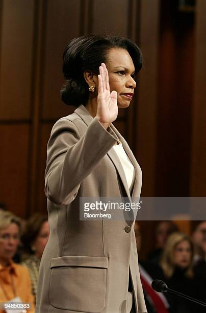 S National Security Advisor Condoleezza Rice is sworn in before testifying before the National Commission on Terrorist Attacks in Washington DC April...