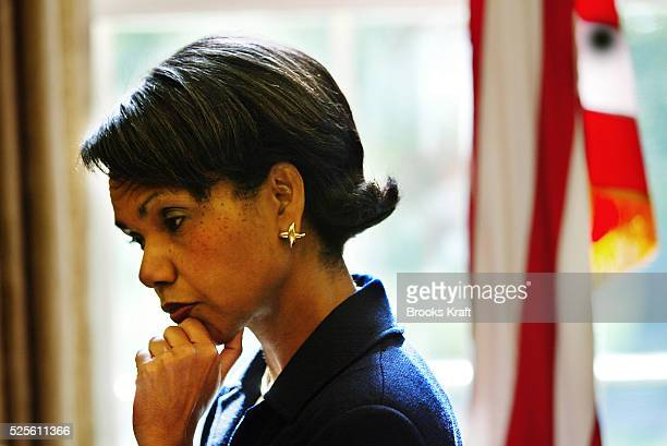 National Security Advisor Condoleezza Rice looks thoughtful after a meeting in the Oval Office of the White House She has been talking with Secretary...