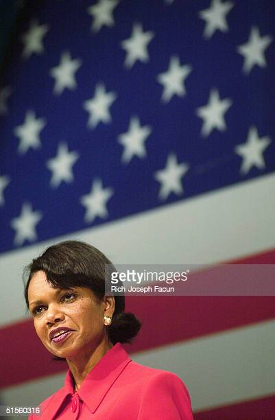 National Security Advisor Condoleezza Rice speaks to the audience at a conference at the Hard Rock Hotel and Casino on October 25 2004 in Hollywood...