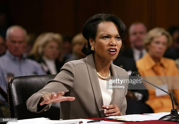 S National Security Advisor Condoleezza Rice testifies before the National Commission on Terrorist Attacks in Washington DC April 8 2004 Rice said...
