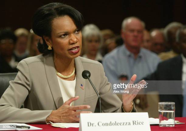 National Security Advisor Condoleezza Rice testifies during a hearing April 8, 2004 before the 9/11 Commission on Capitol Hill in Washington, DC....