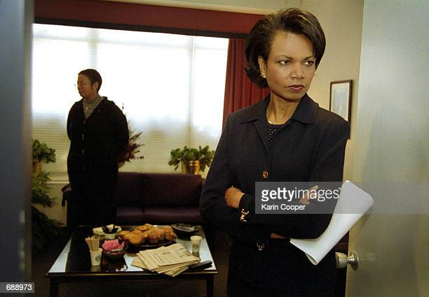 National Security Advisor Condoleezza Rice waits in the green room before her appearance on the CBS talk show 'Face the Nation' December 16 2001 in...