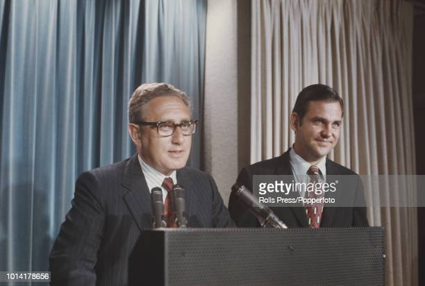 National Security Advisor Henry Kissinger pictured on left with White House Press Secretary Ron Ziegler at a press conference at the White House to...