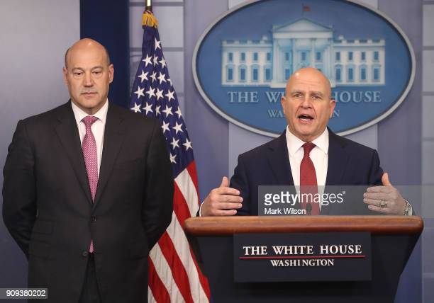 National Security Advisor HR McMaster ans Gary Cohn White House Economic Advisor brief reporters on President Donald Trump's upcoming trip to the...