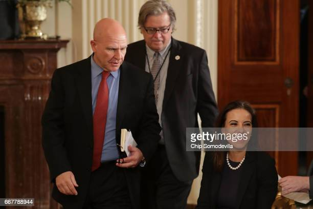 National Security Advisor HR McMaster White House Chief Strategist Steve Bannon and Deputy National Security Advisor for Strategy Dina Powell arrive...