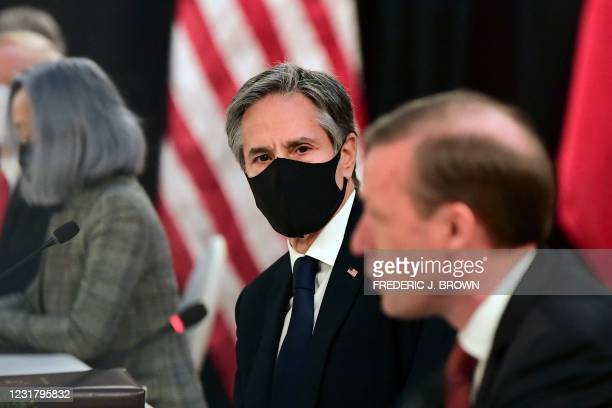National Security Advisor Jake Sullivan speaks as US Secretary of State Antony Blinken looks on at the opening session of US-China talks at the...