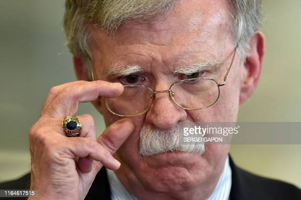 US National Security Advisor John Bolton answers journalists questions after his meeting with Belarus President in Minsk on August 29 2019